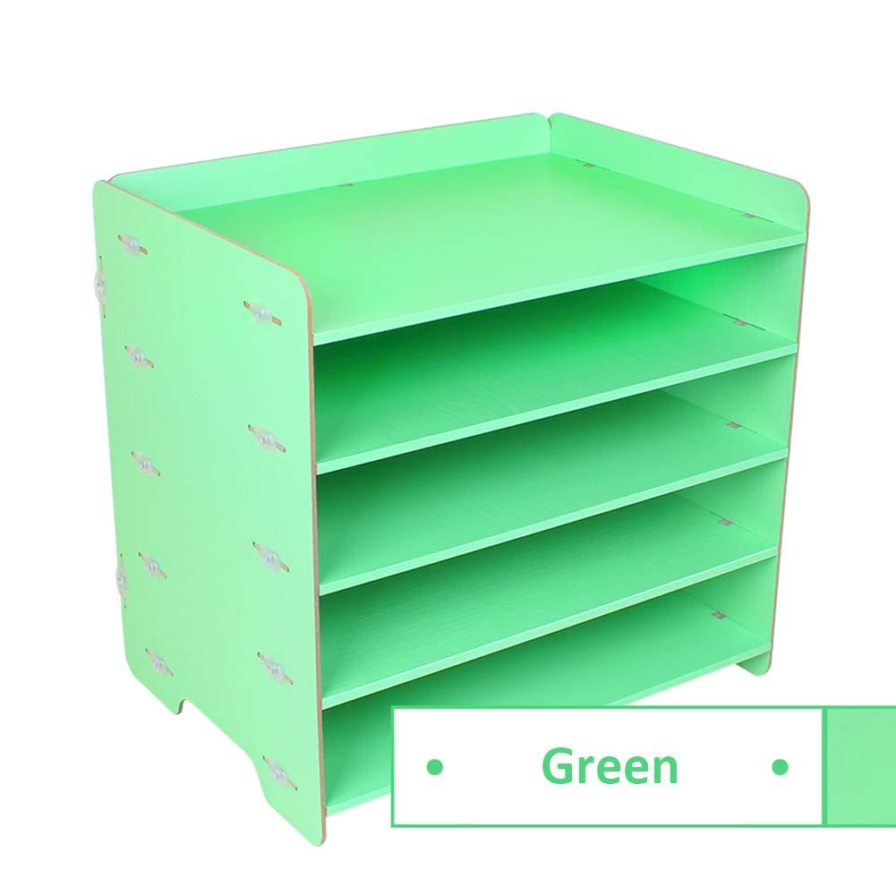 Heatleper 5 Tier Wooden A4 File Folder Rack Paper Document Magazine Holder, Wooden Desktop Office Document Tray Holder Desk Organizer for Office School Home (Green)