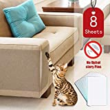 """eyewin Cat Scratch Deterrent, Anti Scratch Cat Training Tape,8 Pieces (12"""" x 17"""") Clear Double Sided Tape for Cats Scratching,Pins Free Cat Deterrent Tape - Furniture Protector"""