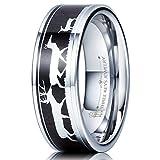 Three Keys Jewelry 8mm Tungsten Wedding Ring with Ebony Black Sandalwood Antler Deer Family Inlay Hunting Ring Wedding Band Engagement Ring Size 10