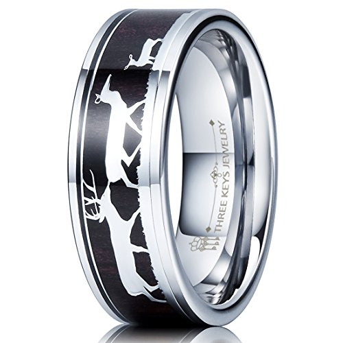 Ebony Inlay - Three Keys Jewelry 8mm Tungsten Wedding Ring with Ebony Black Sandalwood Antler Deer Family Inlay Hunting Ring Wedding Band Engagement Ring Size 9.5