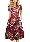 Women's Round Neck Floral Casual Pocket Tunic Party Cocktail T-Shirt A-Line Dress Fit and Flare Dress 162 Red XL