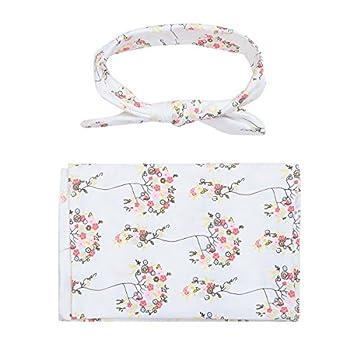YiZYiF Newborn Baby Swaddle Wrap Photography Blanket with Flower Headband Set (White)