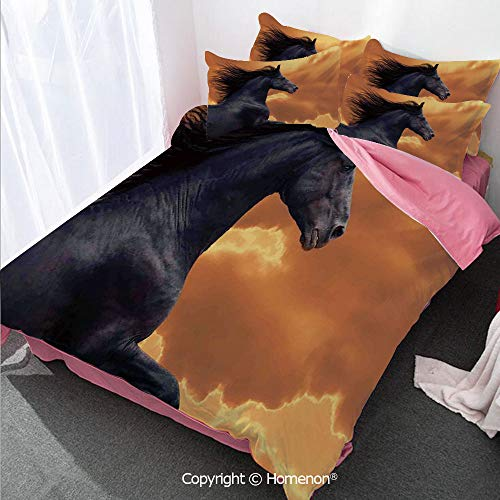 - Animal Decor Girl's Room Cover Set Full Size,Portrait of Galloping Frisian Horse with Warm Hot Sun Rays I,Decorative 3 Piece Bedding Set with 2 Pillow Shams Black Orange