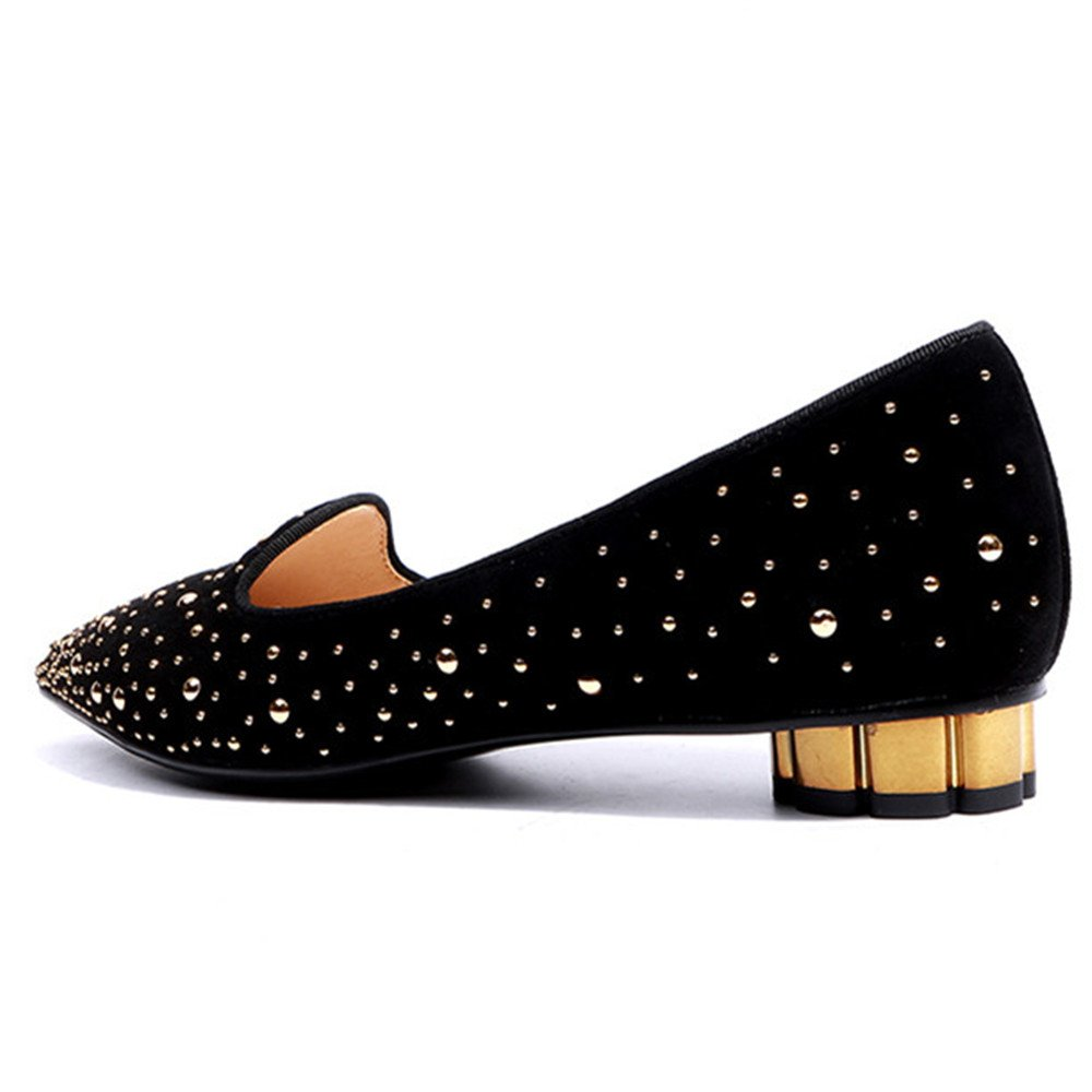 Nine Seven Suede Leather Womens Pointed Toe Chunky Heel Stars Handmade Slip On Cute Shoes