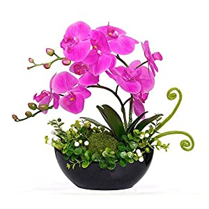 YILIYAJIA Artificial Orchid Bonsai Fake Flowers with Vase Arrangement 5 Head PU Phalaenopsis Bonsai for Home Table Décor 48
