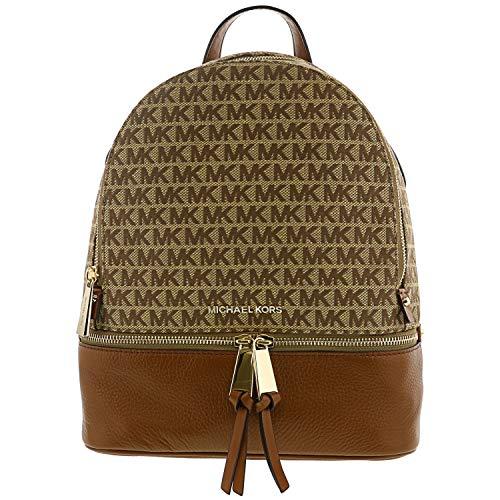 Michael Kors - Rhea Zip Medium Backpack, Bolsos mochila Mujer, Marrón (Acorn), 11.4x29.85x25.4 cm (B x H T)