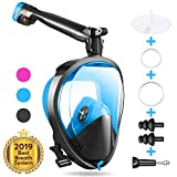 Full Face Snorkel Mask, Joso Snorkeling Mask with Newest Safe Easy Breath System, Longer 360° Rotation Tube Anti-fog 185° Panoramic Seaview Anti-Leak Dry Top Set, for Adults Diving Swimming Backstroke