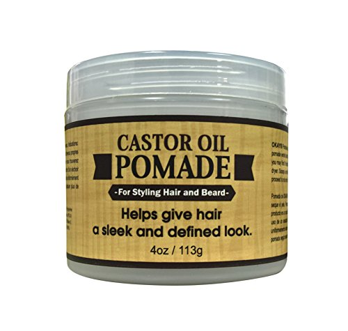 OKAY | Men's Castor Oil Beard and Hair Pomade | For All Hair Types & Textures | All Day Hold | Sleek, Defined Look | Free of Silicone & Paraben | 2 oz