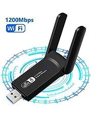 1200Mbps Adattatore WiFi USB 3.0 Chiavetta WiFi Antenna Scheda WiFi Dual Band (5GHz/867Mbps+2.4GHz/300Mbps) per PC Laptop Supporto Windows XP/Vista / 7/8/10 Mac OS
