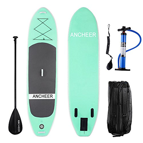 ANCHEER Inflatable SUP Stand Up Paddle Board by iSUP Board with Adjustable Paddle and Dual Action Pump and Backpack, 10' Long x 30'' Wide x 6' Thick (AS10_LG)