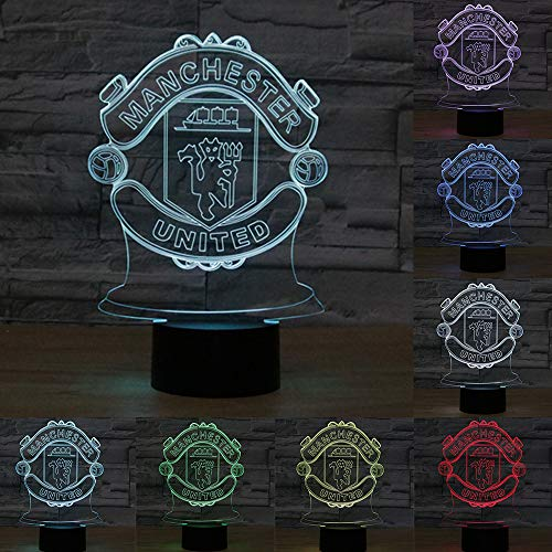 Football Cap Team Logo 3D Lamp Table NightLight 7 Color Change Football LED Desk Light Touch Multicolored USB Power As Home Decoration Lights Tractor for Boys Kids (Touch) (Manchester United)