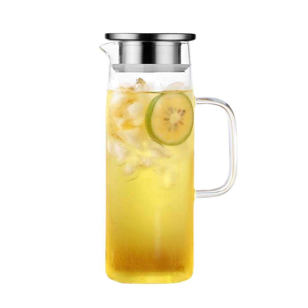 TEA TABLE Glass Cup, Juice Cup, Hot/Cold Water Kettle, Suitable for Iced Lemon Tea and Juice Drinks (Size : 1200ml) by TEA TABLE