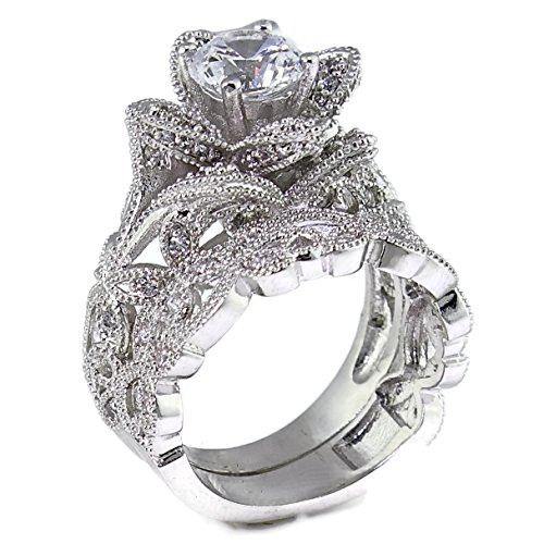 Hand Engraved Floral Filigree Blooming Rose Flower CZ Cubic Zirconia Wedding Ring Set Size 6