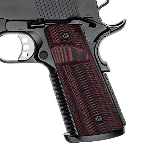 Cool Hand 1911 Full Size G10 Grips, Magwell Cut, Ridges Texture, Big Scoop?Ambi Safety Cut, Red/Black