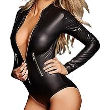 SUBWELL Women's Sexy Black Long Sleeve Zip Front Leather Bodysuit Jumpsuit Clubwear
