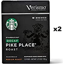 Starbucks Decaf Pike Place Roast Brewed Coffee Verismo Pods (24 Count)