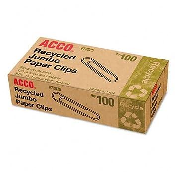 ACCO Smooth Economy Paper Clips, Size No. 3, 15/16 Inches Long, Silver, 100 Clips per Box, 1 Box (72320) ACCO Brands Canada Inc.