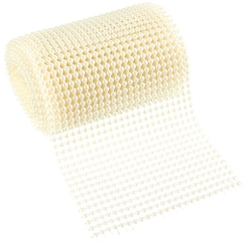 (Pearl Ribbon - Pearl Mesh Wrap Roll - Arts and Crafts Ribbon, Pearl Wedding Decor, Creamy White Plastic, 4.6 Inches Wide, 3.3 Yards Long, Each Bead 4mm)