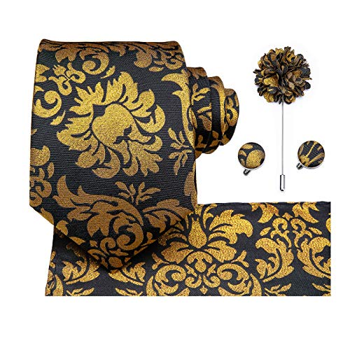 Dubulle Black and Gold Necktie Pocket Square Lapel Pin Cufflinks Set Black Gold Tie Pin