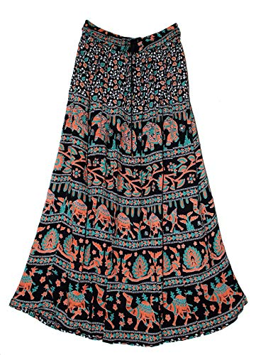 (Indian Print Long Soft Skirt Size S M L Free Maxi USA Broomstick Women Ethnic Hippie (Burgundy))