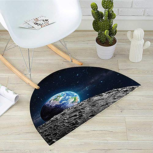 Galaxy Semicircle Doormat View of Earth from Moon Surface Lunar Satellite Spacewatch Tracking Project Halfmoon doormats H 39.3