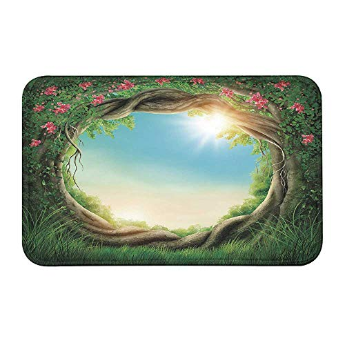 TecBillion Tree Comfortable Door Mat,Enchanted Forest in Spring Fresh Growth Foliage with Blossoms Fairytale Fantasy for Home Office,23
