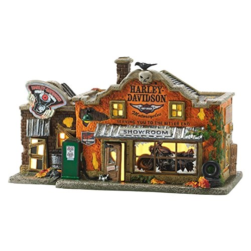 Department 56 Halloween Village Harley Davidson's Garage 4051011 New