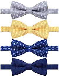 4 Packs Adjustable Pre-tied Bow Tie for Infant baby boys Toddler Child Kids in Different style color