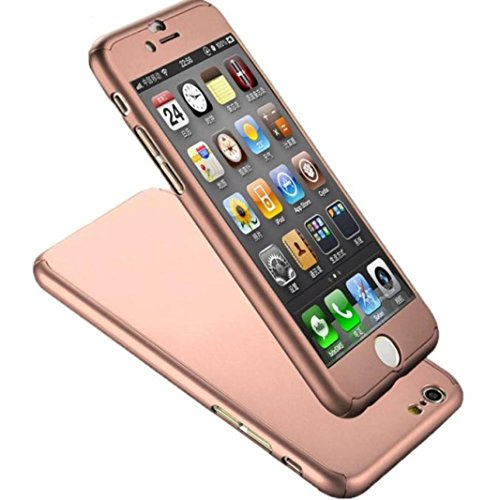 AutumnFall New Hybrid Tempered Glass+Acrylic Hard Case Cover for iPhone 6s Plus (Rose Gold -1)