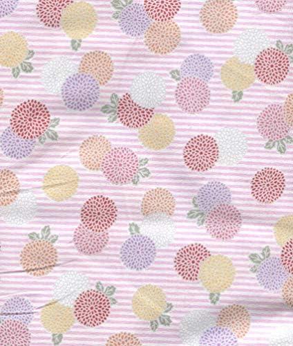 和の布・和布(厚手綿ブロード)110cm幅、綿100%、(白とピンクのストライプ地/約2cm径の 菊の花の集まり)