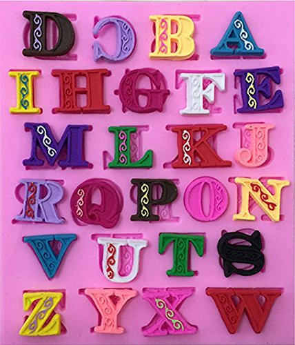 Decorated Letters Alphabet 26 Cav Silicone Mold for Fondant Chocolate Crafts