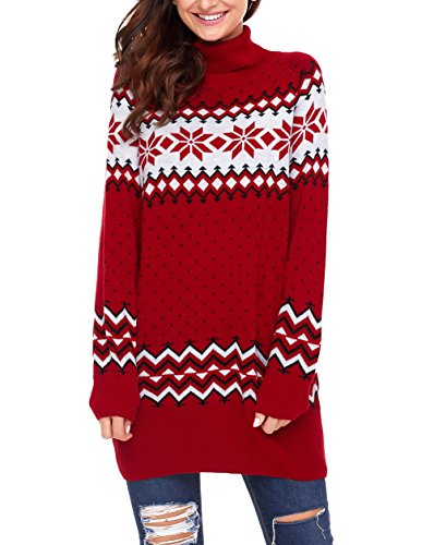 - Dearlovers Womens Long Sleeve Snowflake Knit Turtleneck Jumper Long Ugly Christmas Sweater Tops Meidum Size Red