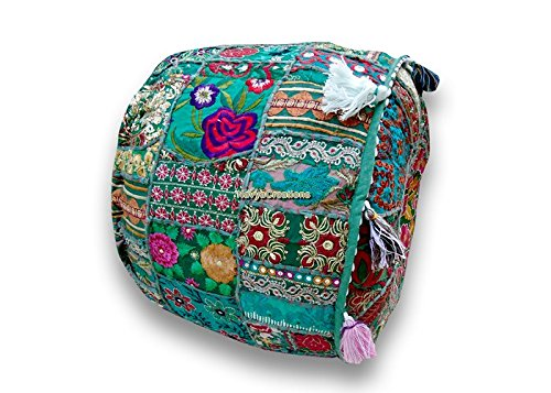 Indian Pouf Patchwork Embroidery Ottoman Indian Decorative Pouf Only Cover