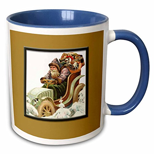 - 3dRose BLN Vintage Christmas Illustration Reproductions - Santa Claus Delivering Presents in an Antique Car - 15oz Two-Tone Blue Mug (mug_170109_11)