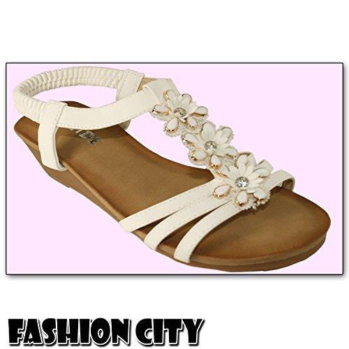 Ladies Peep Toe Platform Slingback Casual Wedge Heel Sandals & Beach Smart Shoes White 1fHHpbjhc
