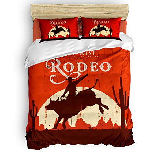 Bedding Duvet Cover Set - Wild West Rodeo Rider Wallpaper Soft and Comfort 4 Piece Bedding Set - 1 Flat Sheet 1 Duvet Cover 2 Pillow Cases - Twin Size