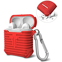 AirPods Case, MeanLove Soft Silicone Case Shock Proof Dust/Dirt Proof Protective Cover and Skin for Apple AirPodsCharging Case (Red)