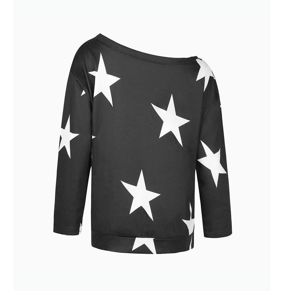 Langarmshirt Damen Langarm Lose Bluse Shirt Schulterfrei Casual Oversized Jumper Sweatshirt Oberteil Hemd Pullover Tunika Blusen Tops