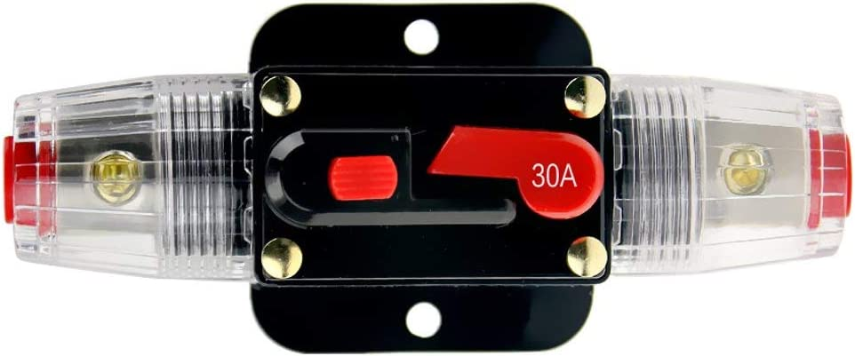 12V-24V Dc 30ein Auto Audio Inline Circuit Breaker Reset Fuse Holder für Stereo Switch System Protection (30A)