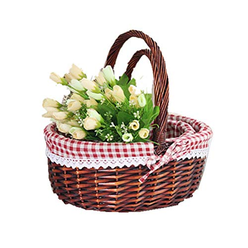 XHSP Wicker Basket Gift Baskets Empty Oval Willow Woven Picnic Basket Easter Candy Basket Storage Wine Basket Office Bedroom Closet ()