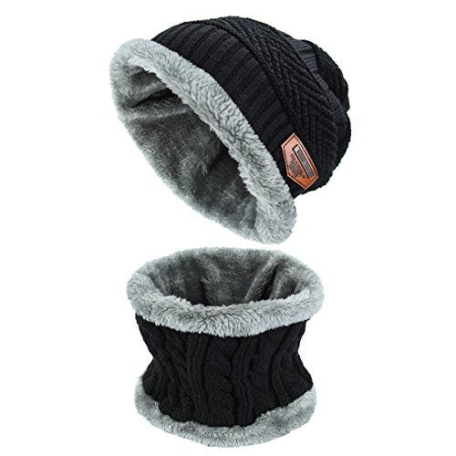 Punto Gorra de de Invierno Bufanda Gorro Sombrero de Sombrero y Caliente Conjunto Negro Bufanda Forro De con Lana Unisex Hombre para de Mujer 0vnWga
