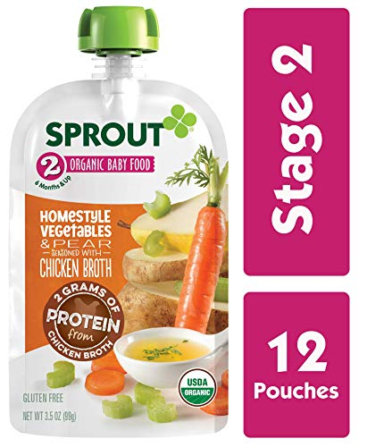 Sprout Organic Stage 2 Baby Food Homestyle Vegetables & Pear w/ Chicken Bone Broth, 3.5 Ounce (Pack of 12)