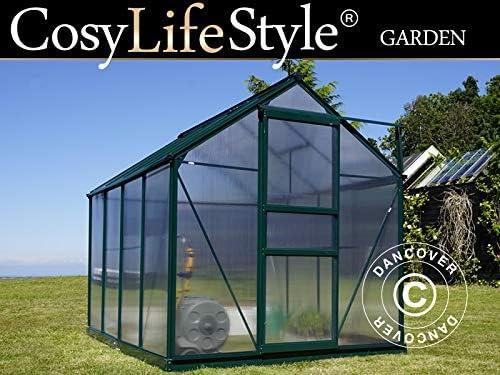 Dancover Invernadero en policarbonato 5, 92m², 1, 9x3, 12x2, 01m, Verde: Amazon.es: Jardín