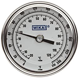 WIKA TI.30 Stainless Steel 304 Process Grade Resettable Bi-Metal Thermometer, 3\