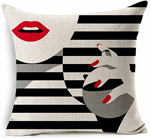 Woman red lips and fingernails lkwu31447 Decorative Cotton L