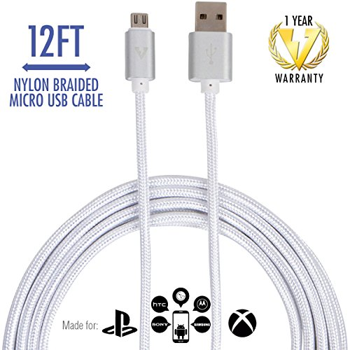 vCharged 12 FT Extra Long Micro USB Cable - Nylon Braided for Samsung Galaxy, Alexa, HTC, LG, Windows, Android Smartphones & More