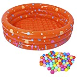 Baby Pool, Inflatable Swimming Pool with 50Pcs BPA Free Crush Proof Plastic Ball for Babies Toddlers Outdoor Indoor Activities Garden Parties (Orange)