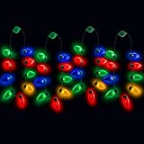 LED Light Up Christmas Bulb Necklace Party Favors (Family 4 Pack)