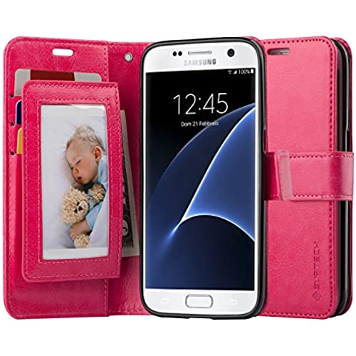 SUPTECH Galaxy S7 Case [Stand View][Detachable Wrist Strap] Samsung S7 Wallet Case with 5 Card Holders Flip Cover for Samsung S7 (Rose Red) Sales
