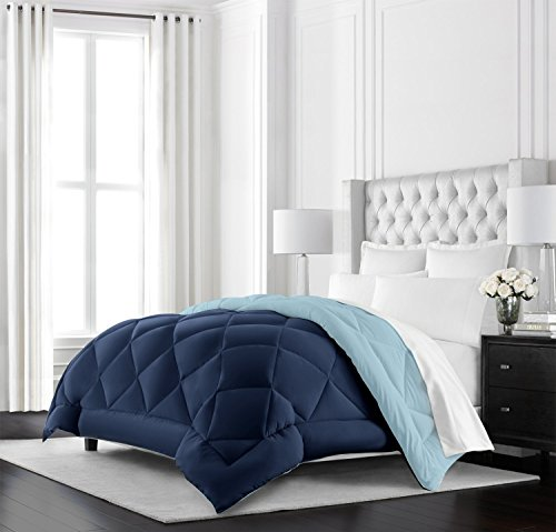 Beckham Hotel Collection Goose Down Alternative Reversible Comforter - All Season - Premium Quality Luxury Hypoallergenic Comforter - King/Cal King - Navy/Sky Blue Black Friday & Cyber Monday 2018